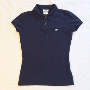 Lacoste Navy Slim Fit Stretch Polo Size 2